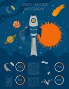 Space, universe graphic design. Infographic template Stock Illustration