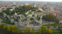Aerial of city and castle Stock Footage