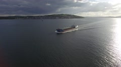 Tracking shot of a large ship on the Tay river. Stock Footage