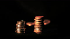 Coins decrease in timelapse Stock Footage