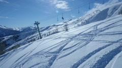 Aerial of chairlift at ski resort Stock Footage