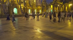 Shwedagon Paya pagoda - famous sacred place - stock footage