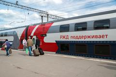 Moscow, Russia - June 14.2016. two-storey train number 45 route from Moscow t Stock Photos
