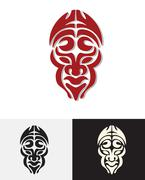 Totem man face mask Stock Illustration