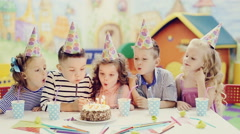 Kids birthday party in playroom Stock Footage