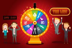 Businesspeople with Financial Wheel of Fortune - stock illustration