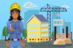 Contractor in Front of a House - stock illustration