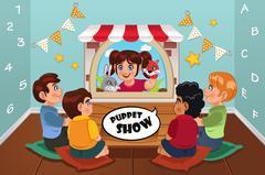 Kids Watching Puppet Show Stock Illustration