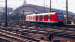 German Train Arriving Central Main Station Stock Footage