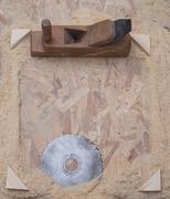 Carpenter tools on wood table background. Copy space - stock photo