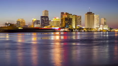 Downtown New Orleans Across the Mississippi River - Skyline Time Lapse - stock footage