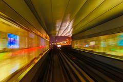 Abstraction metro subway tracks blur - stock photo