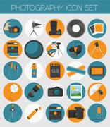 Photography icon set with photo, camera equipment. Colour flat version Stock Illustration