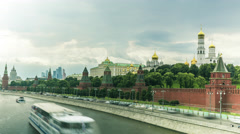 Moscow Kremlin, river boats and heavy clouds summer 4K long exposure time lapse Stock Footage