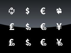 Exchange Rate icons on black background Stock Illustration