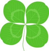 Quatrefoil leaf clover sign icon. Good Luck or Saint patrick day symbol. Ecology - stock illustration