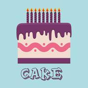 Birthday cake and desserts - stock illustration
