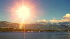 Sunrise over the mountains and the sea. Stop motion in Montenegro - stock footage