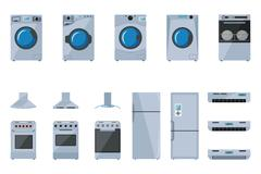 A set of large household appliances Stock Illustration