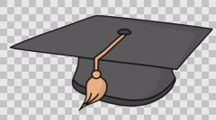 graduation hat diploma Sketch illustration hand drawn animation transparent - stock footage