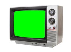 Grungy Little Television with Static Screen Stock Photos