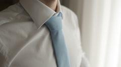 Groom Wears A Tie Stock Footage