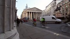 Wide angle Static shot of Pillars of the Bank of England and Royal Exchange Stock Footage