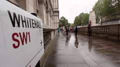 Static wide angle of Whitehall, London, with street sign on left Stock Footage