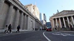 Wide angle Static shot of  Bank of England on left and Royal Exchange London - stock footage