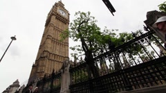 Wide angle static shot of Big Ben clock tower Palace of Westminster London - stock footage