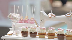 Decor Sweet Table. White Table With wedding cakes - stock footage