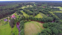 Aerial footage. Forest, fields and rivers. Summer nature landscape. Stock Footage