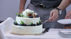 Beautiful and tasty wedding cake at wedding reception - stock footage