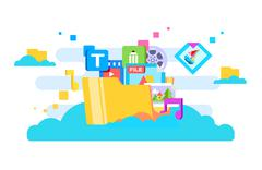 Cloud storage flat design Stock Illustration