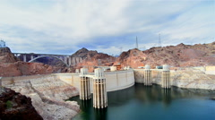 View of the Hoover Dam in Nevada, USA - stock footage