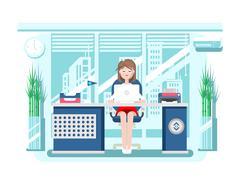 Secretary in office - stock illustration