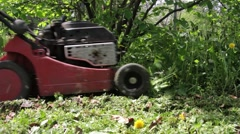 Gardener who cuts the grass car the grass and the weeds grown after heavy rains Stock Footage