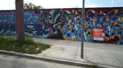 Miami Street Art Shot From Car Stock Footage