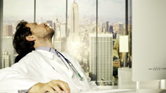 Cool doctor tired at sunset in office 4K Stock Footage