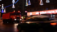Fire truck sirens started going with speed on a high traffic boulevard in the Stock Footage