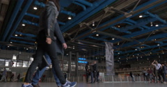 Visitors walking in big hall of Pompidou Centre Stock Footage