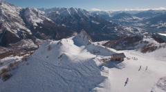 Aerial of ski station on mountain top Stock Footage