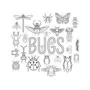 Insects icon flat style. 24 pieces in set. Outline version - stock illustration