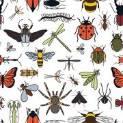 Insects seamless pattern. 24 pieces in set. Stock Illustration