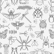 Insects seamless pattern. 24 pieces in set. - stock illustration