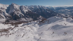 Aerial of beautiful snowcapped mountains Stock Footage