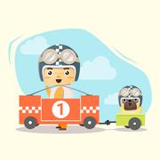 Little boy racer and friend - stock illustration