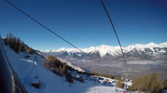 View from skiing lift to the mountains Stock Footage