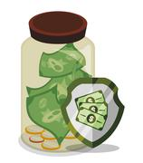 Bank and money savings - stock illustration