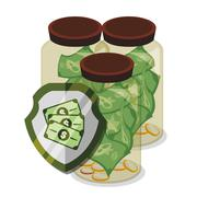 Bank and money savings - stock illustration